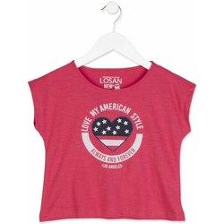 Textil Rapariga T-Shirt mangas curtas Losan 814-1023AB Rosa