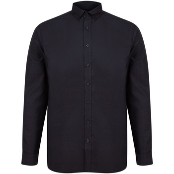 Textil Homem Camisas mangas comprida Henbury H512C Preto