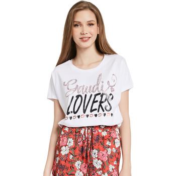 Textil Mulher T-Shirt mangas curtas Gaudi 011BD64008 Branco