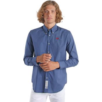 Textil Homem Camisas mangas comprida La Martina OMC015 PP461 Azul
