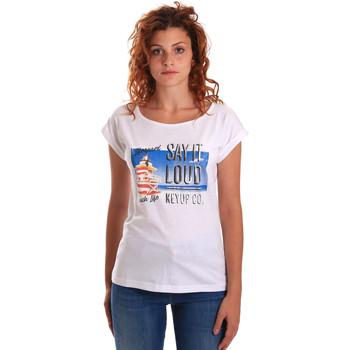 Textil Mulher T-Shirt mangas curtas Key Up 5D72S 0001 Branco