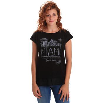 Textil Mulher T-Shirt mangas curtas Key Up 5Z10S 0001 Preto