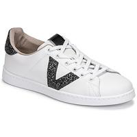 Sapatos Mulher Sapatilhas Victoria TENIS PIEL GLITTER Branco / Preto