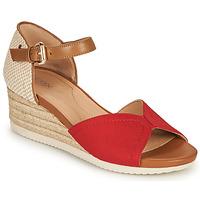 Sapatos Mulher Sandálias Geox D ISCHIA CORDA D Vermelho / Conhaque