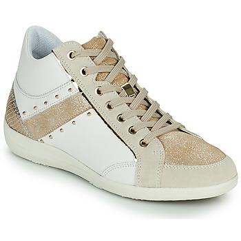 Sapatos Mulher Sapatilhas de cano-alto Geox D MYRIA G Branco / Bege