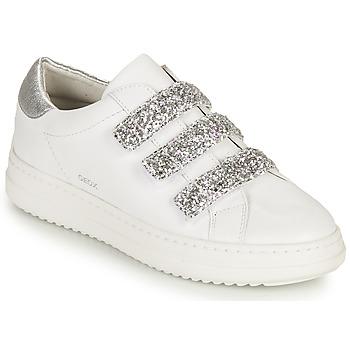 Sapatos Mulher Sapatilhas Geox D PONTOISE C Branco / Prata