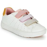 Sapatos Rapariga Sapatilhas Geox SILENEX GIRL Branco / Rosa / Bege
