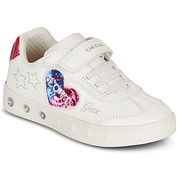 Sapatos Rapariga Sapatilhas Geox SKYLIN GIRL Branco / Preto / Rosa