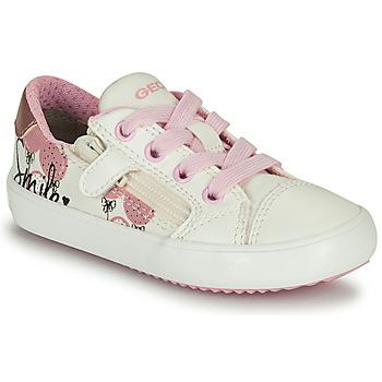 Sapatos Rapariga Sapatilhas Geox GISLI GIRL Branco / Rosa