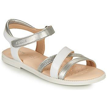 Sapatos Rapariga Sandálias Geox J SANDAL KARLY GIRL Branco / Prata