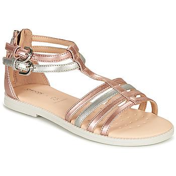 Sapatos Rapariga Sandálias Geox J SANDAL KARLY GIRL Rosa / Prata