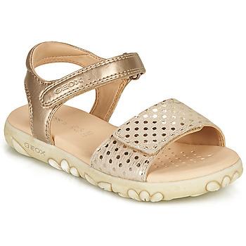 Sapatos Rapariga Sandálias Geox SANDAL HAITI GIRL Bege / Ouro