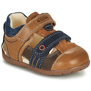 Sapatos Rapaz Sandálias Geox KAYTAN Castanho / Marinho