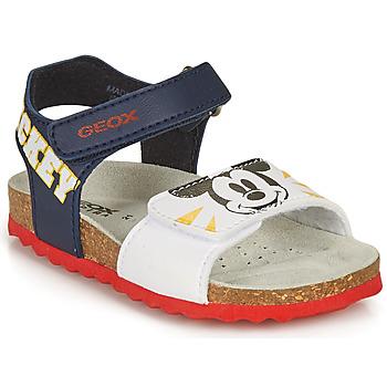 Sapatos Rapaz Sandálias Geox SANDAL CHALKI BOY Marinho / Branco