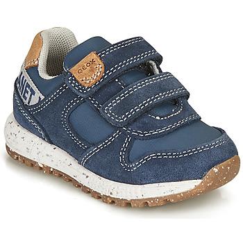 Sapatos Rapaz Sapatilhas Geox ALBEN BOY Azul / Castanho