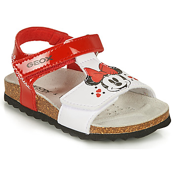 Sapatos Rapariga Sandálias Geox SANDAL CHALKI GIRL Vermelho / Branco