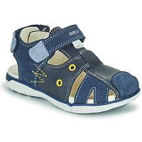 Sapatos Rapaz Sandálias Geox SANDAL DELHI BOY Marinho