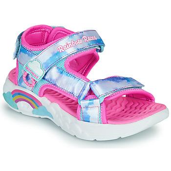 Sapatos Rapariga Sandálias desportivas Skechers RAINBOW RACER Prata / Rosa