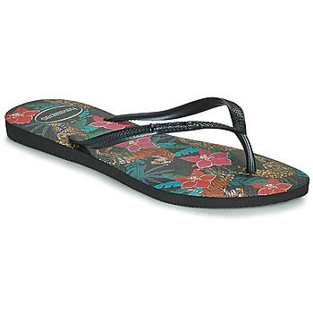 Sapatos Mulher Chinelos Havaianas SLIM TROPICAL Preto / Cinza