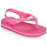 Sapatos Rapariga Chinelos Havaianas BABY BRASIL LOGO II Rosa