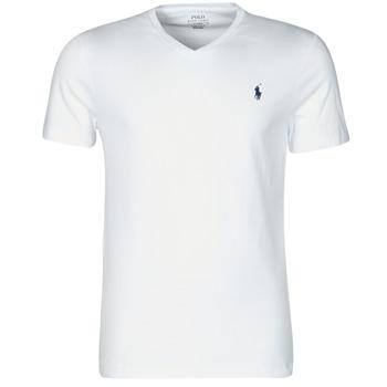 Textil Homem T-Shirt mangas curtas Polo Ralph Lauren T-SHIRT AJUSTE COL V EN COTON LOGO PONY PLAYER Branco