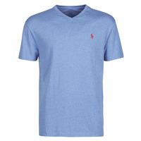 Textil Homem T-Shirt mangas curtas Polo Ralph Lauren T-SHIRT AJUSTE COL V EN COTON LOGO PONY PLAYER Azul