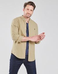 Textil Homem Camisas mangas comprida Polo Ralph Lauren CHEMISE CINTREE SLIM FIT EN OXFORD LEGER TYPE CHINO COL BOUTONNE Bege