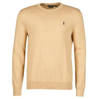 Textil Homem camisolas Polo Ralph Lauren PULL COL ROND AJUSTE EN COTON PIMA LOGO PONY PLAYER Camel