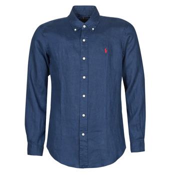 Textil Homem Camisas mangas comprida Polo Ralph Lauren CHEMISE AJUSTEE EN LIN COL BOUTONNE  LOGO PONY PLAYER Azul