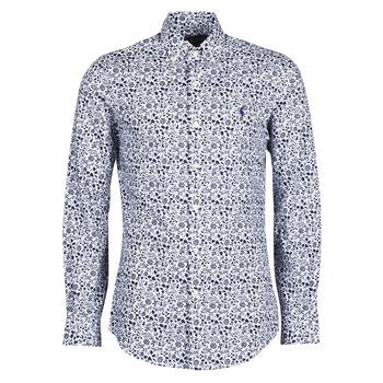 Textil Homem Camisas mangas comprida Polo Ralph Lauren CHEMISE CINTREE SLIM FIT EN POPLINE DE COTON COL BOUTONNE LOGO P Azul