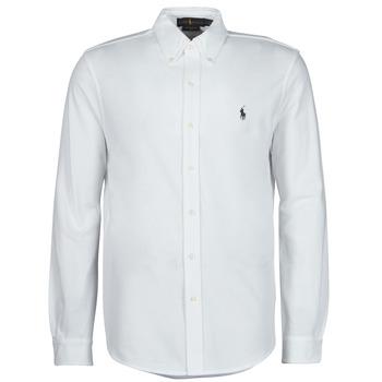 Textil Homem Camisas mangas comprida Polo Ralph Lauren CHEMISE AJUSTEE COL BOUTONNE EN POLO FEATHERWEIGHT LOGO PONY PLA Branco