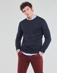 Textil Homem camisolas Polo Ralph Lauren PULL COL ROND AJUSTE EN COTON PIMA LOGO PONY PLAYER Azul