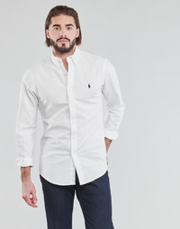 Textil Homem Camisas mangas comprida Polo Ralph Lauren CHEMISE CINTREE SLIM FIT EN OXFORD LEGER TYPE CHINO COL BOUTONNE Branco