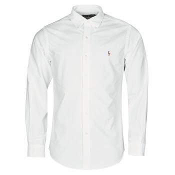Textil Homem Camisas mangas comprida Polo Ralph Lauren CHEMISE AJUSTEE EN OXFORD COL BOUTONNE  LOGO PONY PLAYER MULTICO Branco