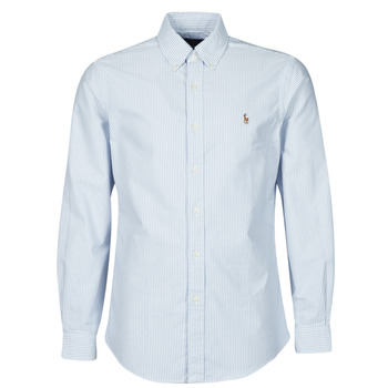 Textil Homem Camisas mangas comprida Polo Ralph Lauren CHEMISE AJUSTEE EN OXFORD COL BOUTONNE  LOGO PONY PLAYER MULTICO Azul / Branco