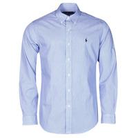 Textil Homem Camisas mangas comprida Polo Ralph Lauren CHEMISE AJUSTEE EN POPLINE DE COTON COL BOUTONNE  LOGO PONY PLAY Azul / Branco / Listras