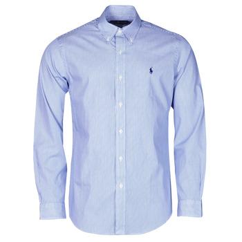 Textil Homem Camisas mangas comprida Polo Ralph Lauren CHEMISE AJUSTEE EN POPLINE DE COTON COL BOUTONNE  LOGO PONY PLAY Azul / Branco