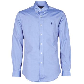 Textil Homem Camisas mangas comprida Polo Ralph Lauren CHEMISE AJUSTEE EN POPLINE DE COTON COL BOUTONNE  LOGO PONY PLAY Azul
