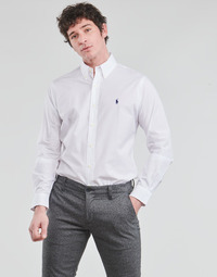 Textil Homem Camisas mangas comprida Polo Ralph Lauren CHEMISE AJUSTEE EN POPLINE DE COTON COL BOUTONNE  LOGO PONY PLAY Branco