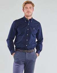 Textil Homem Camisas mangas comprida Polo Ralph Lauren CHEMISE AJUSTEE EN POPLINE DE COTON COL BOUTONNE  LOGO PONY PLAY Marinho