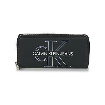Malas Mulher Carteira Calvin Klein Jeans ZIP AROUND GLOW Preto