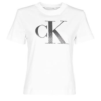 Textil Mulher T-Shirt mangas curtas Calvin Klein Jeans SATIN BONDED FILLED CK TEE Branco