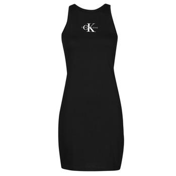 Textil Mulher Vestidos curtos Calvin Klein Jeans MONOGRAM TANK DRESS Preto