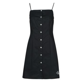 Textil Mulher Vestidos curtos Calvin Klein Jeans COTTON TWILL BUTTON DRESS Preto