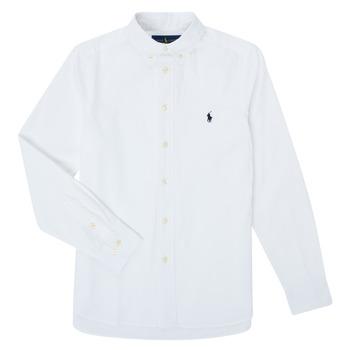 Textil Rapaz Camisas mangas comprida Polo Ralph Lauren TOUNIA Branco