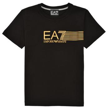 Textil Rapaz T-Shirt mangas curtas Emporio Armani EA7 3KBT54-BJ02Z-1200 Preto / Ouro