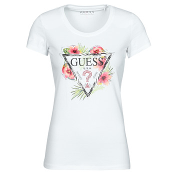 Textil Mulher T-Shirt mangas curtas Guess SS CN REBECCA TEE Branco / Multicolor