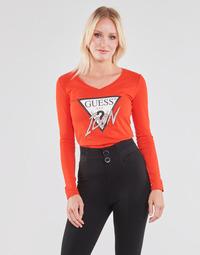 Textil Mulher T-shirt mangas compridas Guess LS VN ICON TEE Vermelho