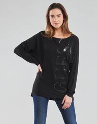 Textil Mulher T-shirt mangas compridas Guess LS KAROLINA TEE Preto