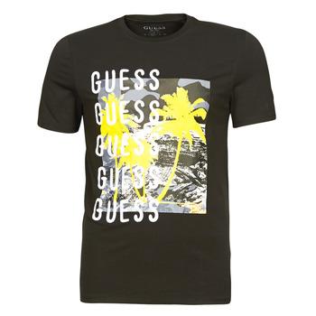 Textil Homem T-Shirt mangas curtas Guess CAMUSPACE CN SS TEE Preto / Multicolor
